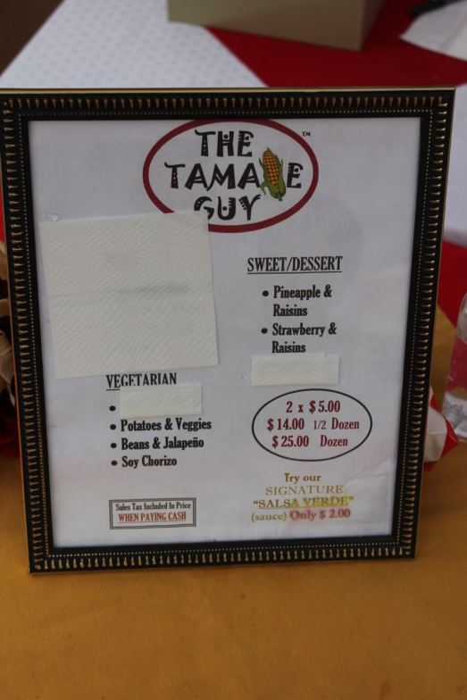 The Tamale Guy Vegan Menu